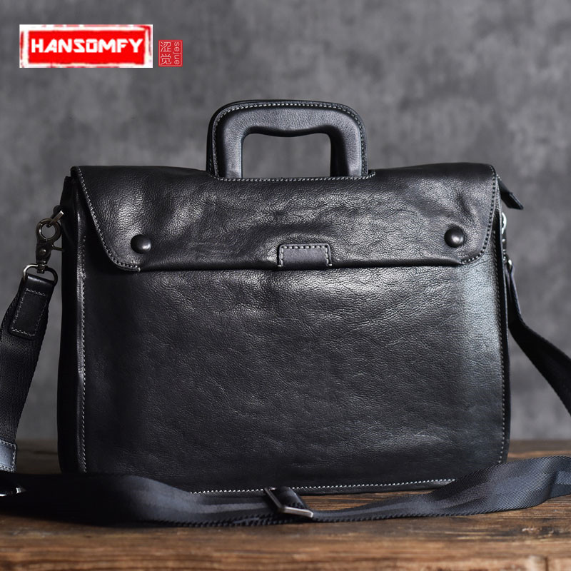 The first layer of vegetable tanned cowhide briefcase men and women business leather briefcase computer 14 Laptop bags