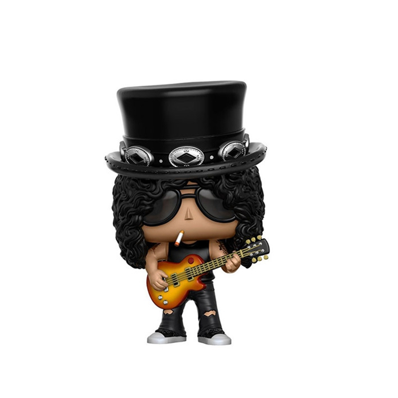 10cm  Secondhand imperfect Guns N Roses Rocks: Slash Vinyl Action Figure Collectible Model Loose Toy Cheap No Box imperfect funko pop second hand horror movies evil dead 2 ash with saw vinyl action figure collectible model toy cheap no box