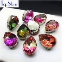 High Quality Tourmaline K9 Glass Droplet Sew On Claw Rhinestone 10x14mm,13X18mm Teardrop Fancy Stone With Claw Setting