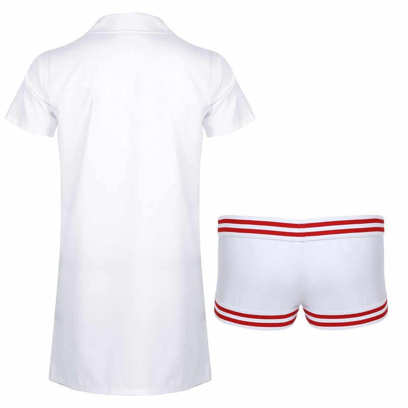 2 шт. мужской костюм для ролевых игр медицинская Униформа с короткими рукавами медсестры униформа для доктора воротник с лацканами пальто с боксером комплект нижнего белья