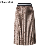 Changpleat 2019 Spring New velvet Women Fold Skirts Miyak Pleated Fashion Design Solid Elastic waist Female A line Skirt Tide S9