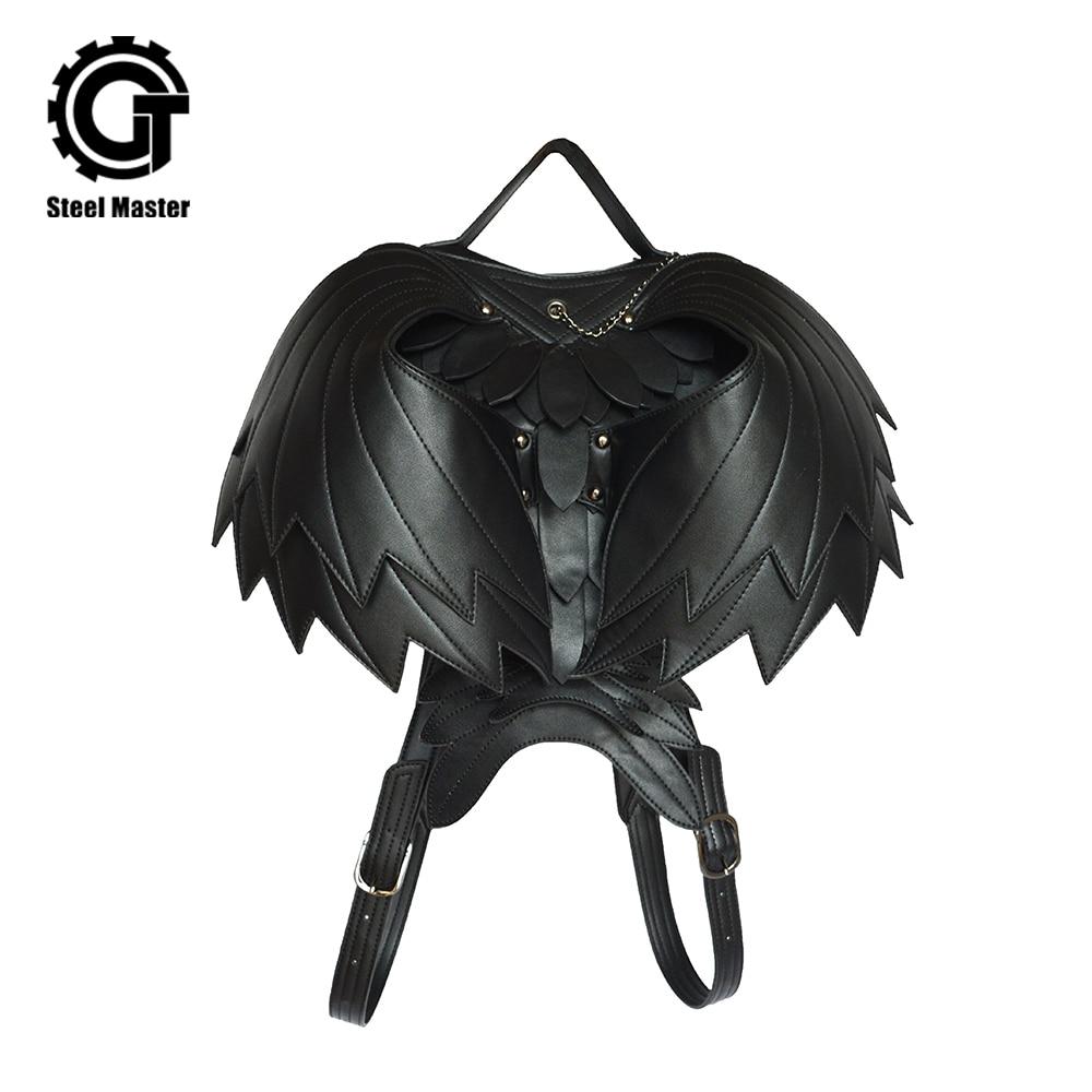 Mochila De Cuero Punk de marca 2019 para mujer con cremallera negro fantasma monstruo Retro hombre mochila cadena gótico hombres mochila 3D-in Mochilas from Maletas y bolsas    1