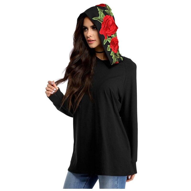 Hot Fashion font b Women s b font New Fashion Embroidery Rose Sweatshirt Hoodie Black Hoodied