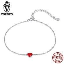 VOROCO 2018 Trendy Silver Bracelet Elegant Real 925 Sterling Bracelets Woman Red Enamel Heart Party Fine Jewelry VSB016