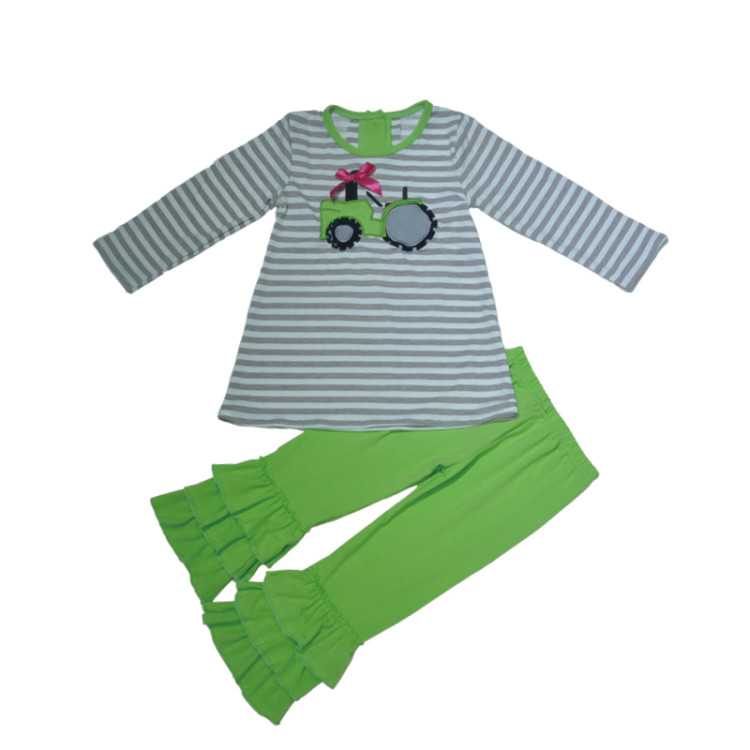 Bulk Wholesale CONICE NINI Brand Hot Sale Baby Girl Clothes Green Ruffle Pants Striped Tractor Embroidery Top Kids Fashion