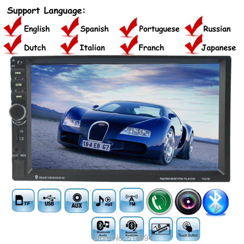 10 languages 2 DIN 7 inch Car Stereo MP5 Radio Player steering wheel control Touch Screen Bluetooth MP4 Player FM/TF/USB 2 din car radio stereo mp5 mp4 player 6 6 inch touch screen rear camera dvr input fm steering wheel control bluetooth video