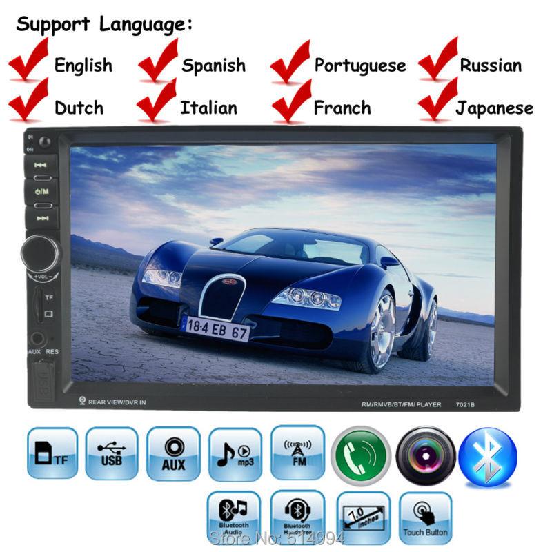 Prix pour 10 langues 2 DIN 7 pouce De Voiture Stéréo MP5 Radio Lecteur Écran Tactile de commande au volant Bluetooth MP4 Lecteur FM/TF/USB