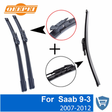 QEEPEI Front and Rear Wiper Blade no Arm For Saab 9-3 2007-2012 High quality Natural Rubber windscreen 23''+23''