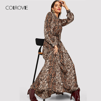 COLROVIE Snake Skin Leopard Print Vintage Maxi Dress Women Clothes Autumn Long Sleeve Sexy Party Office Ladies Dresses