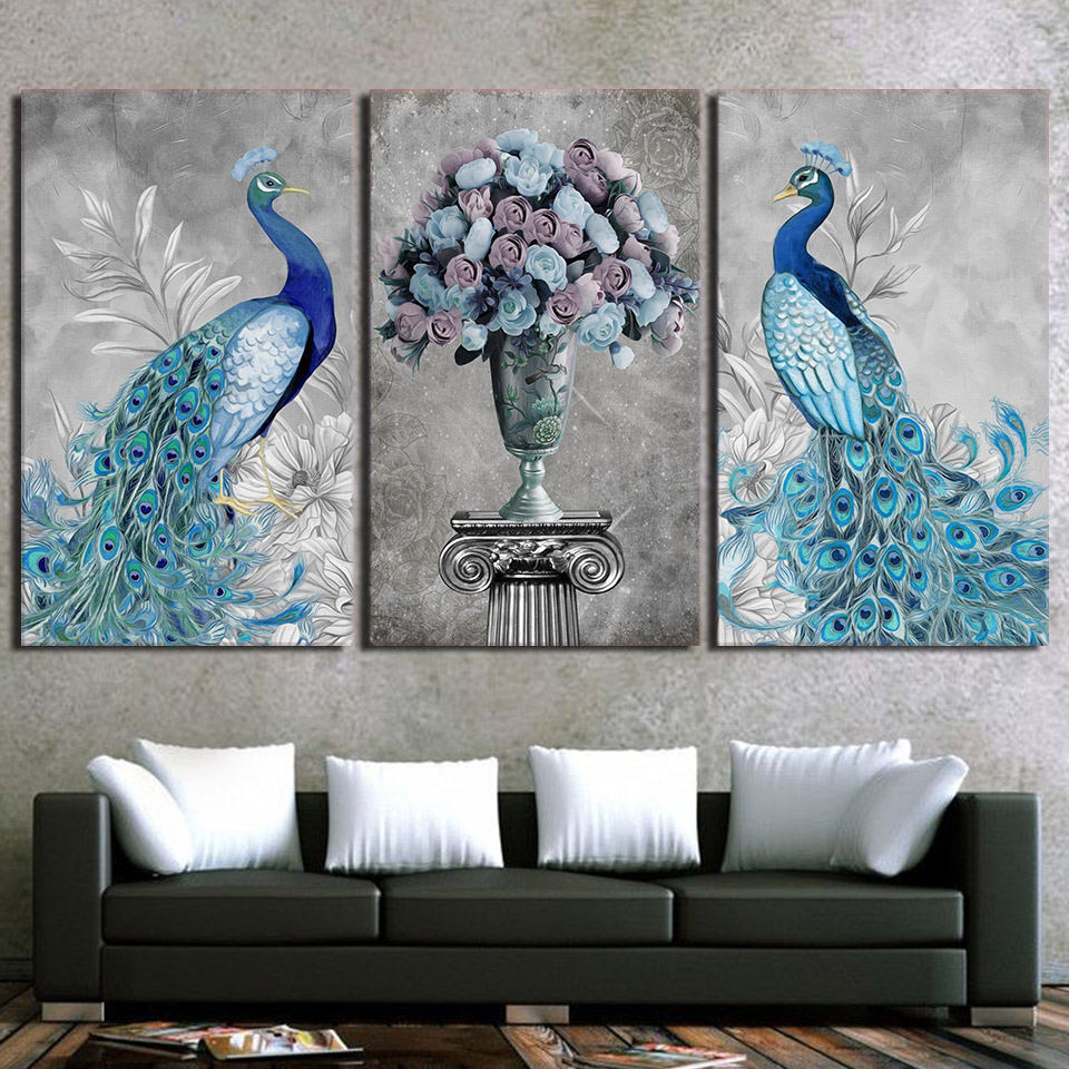 Peacock Wall Art Fascinating Modern Canvas Hd Prints Pictures Wall Art Framework 3 Pieces 2018