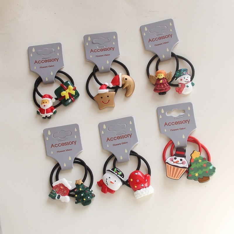 2 PCS Cartoon Christmas Gift Girls Hair Accessories Princess Headwear Kids Elastic Hair Bands Baby Headdress Children Hair Ropes jrfsd 7pcs set new fashion girls hair clip cartoon images hair bands princess mini dress hairgrip kids hair accessories