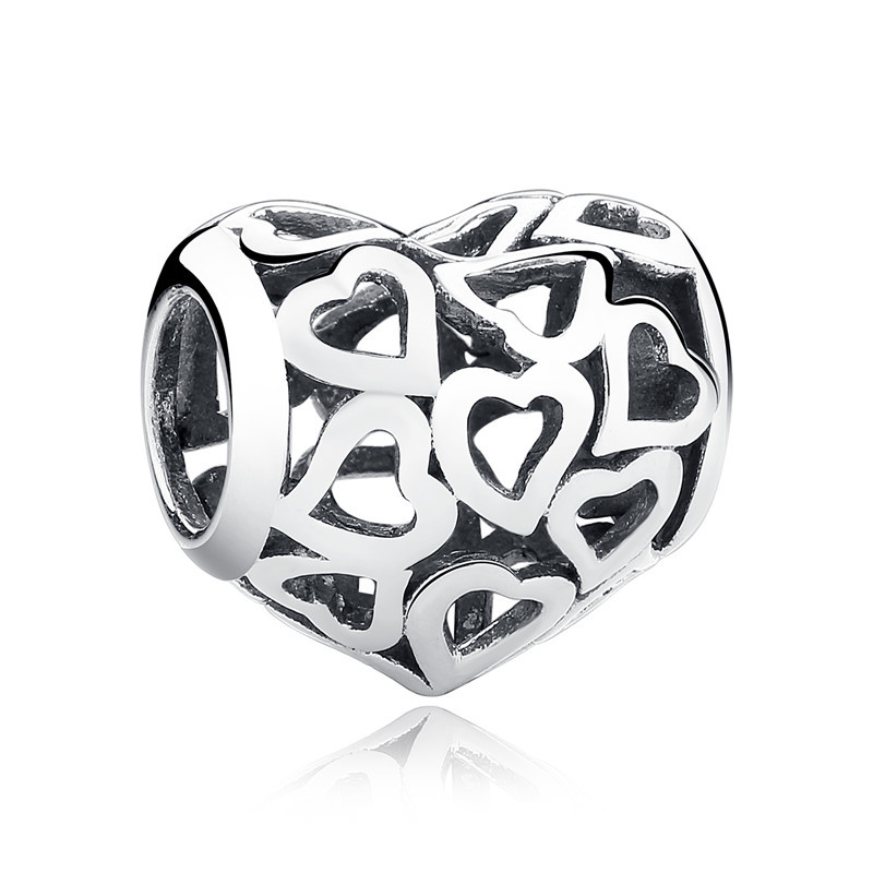 2018 Hot 100% 925 Sterling Silver Full Of Love Heart Bead Fit - Bisutería - foto 3