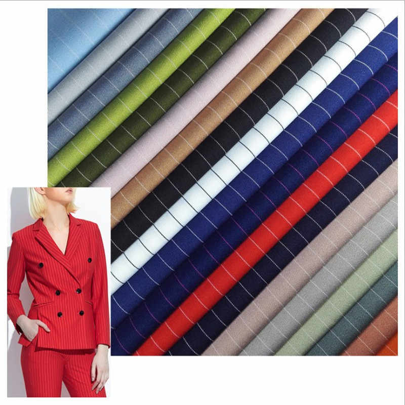 Pinstripe Twill Fabric Elastic Polyester Women Suit Uniform Dress Shirt Skirt Fabric DIY Handmade width 1.5m*length 1m