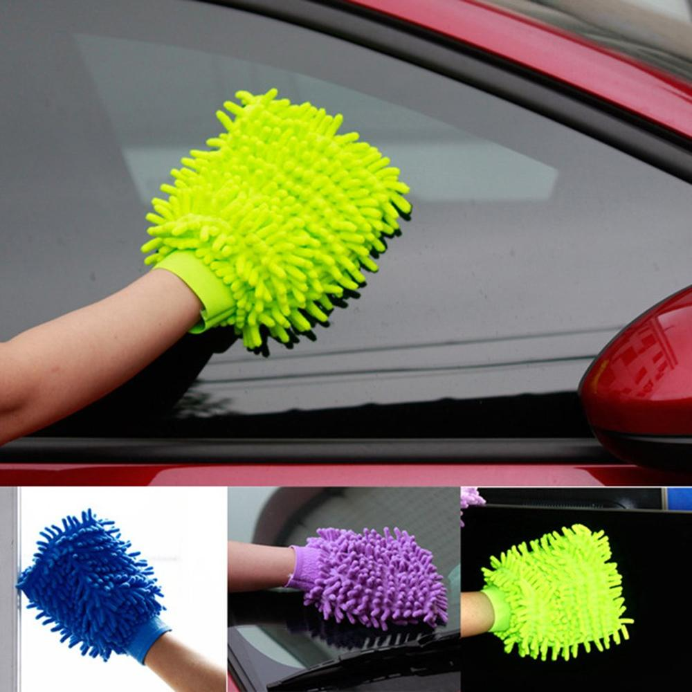 C06KR Double-sided Chenille Corals Superfine Fibre Car Wash Gloves Car Wash Gloves Car Wash Tools Cleaning Supplies