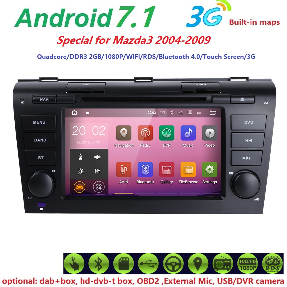 crazy sales 2g quadcore android7 1 car gps navigation dvd player for mazda 3 mazda3 2004 2005. Black Bedroom Furniture Sets. Home Design Ideas