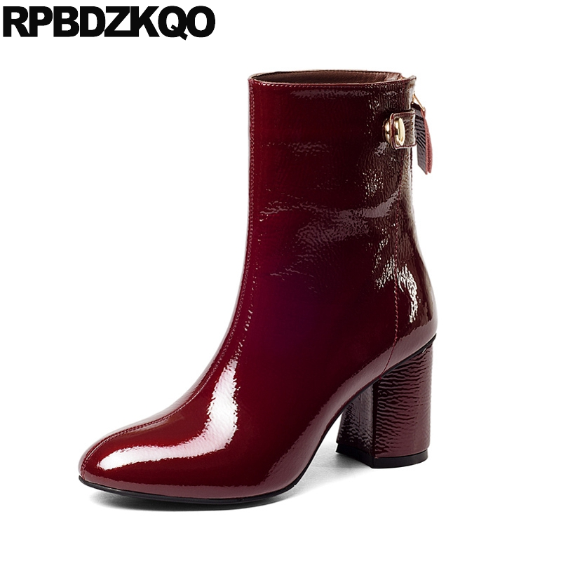 Shoes Round Toe Patent Leather 9 High Heel Genuine Winter Ankle British Chunky 2017 Short Wine Red Luxury Brand Women Ladies все цены