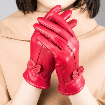 VISNXGI Cashmere Gloves Keep Warm Mittens Leather For Woman Fashion Winter Womens Gloves Sheepskin Bow Female Guante Hand Glove 1