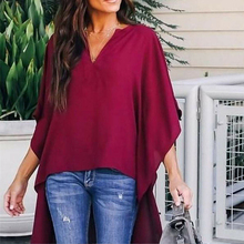 Women V-neck Chiffon Blouse Batwing Sleeve Shirt Summer Loose Tops Blouses