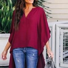 Women V-neck Chiffon Blouse Batwing Sleeve Shirt Summer Loose Tops Blouses стоимость