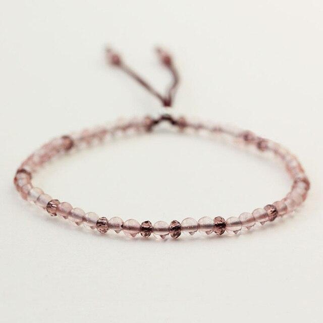 925 Sterling Silver Friendship Thin Bracelets For Women Small Beads 3mm Natural Gemstone Handmade Bracelets Reiki Yoga Jewelry