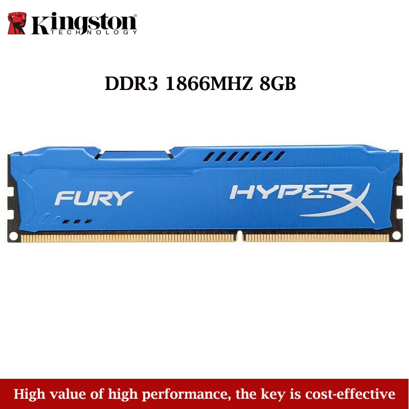 <font><b>Kingston</b></font> Technologie Hyperx Fury 1 PCS 8 GB 1866 MHZ <font><b>DDR3</b></font> Memory Stick <font><b>Ram</b></font> Für Desktop-Computer Gaming Blau <font><b>RAMS</b></font> dropshipping 2019 image