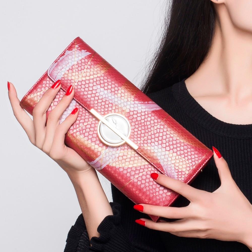 Long Wallet Women Red PU Leather Serpentine Brush Parten Design Handbags Party Evening Bags Carteira Feminina Carteras Mujer bodi k333 women s pu leather long wallet coffee