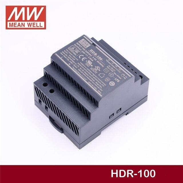Fonte de alimentação industrial do trilho do ruído da única saída do poço médio constante HDR 100 24 24 v 3.83a meanwell HDR 100 92 w