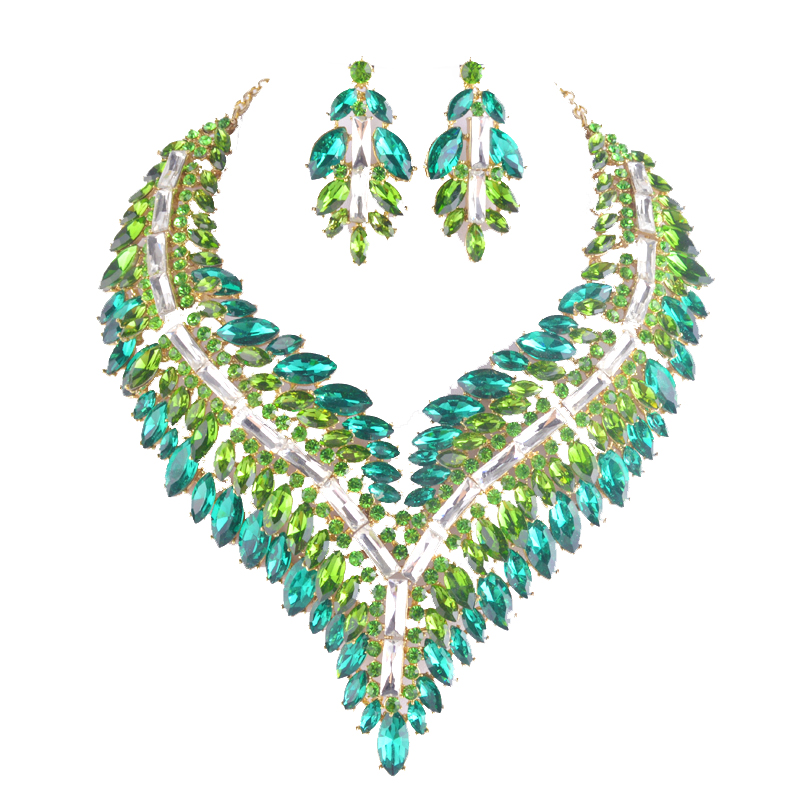 7 color Big statement Jewelry sets Green marquise women party pageant fit dress Necklace and earrings bridal dinner earrings statement alloy crochet earrings and necklace
