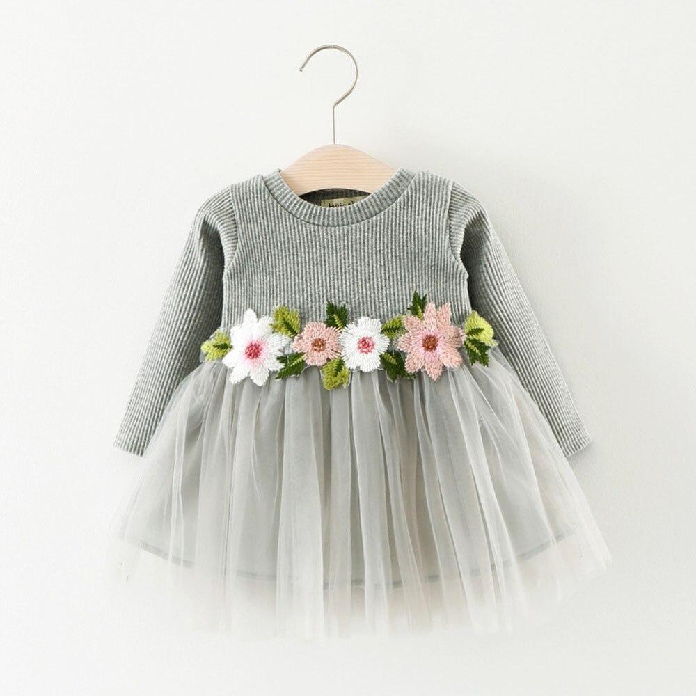 2018 girls long-sleeved flower mesh gown dress princess dress dress party children long-sleeved sweet print dresses baptism