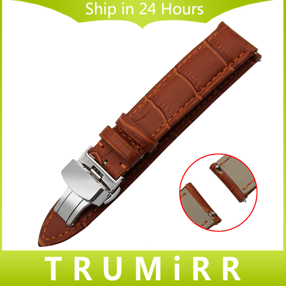 18mm 20mm 22mm Quick Release Watchband Genuine Leather Strap for CK Calvin Klein Watch Band Butterfly Clasp Bracelet Black Brown genuine calf leather watch band strap butterfly buckle watchband 18mm 20mm 22mm black brown crocodile pattern watch accessories