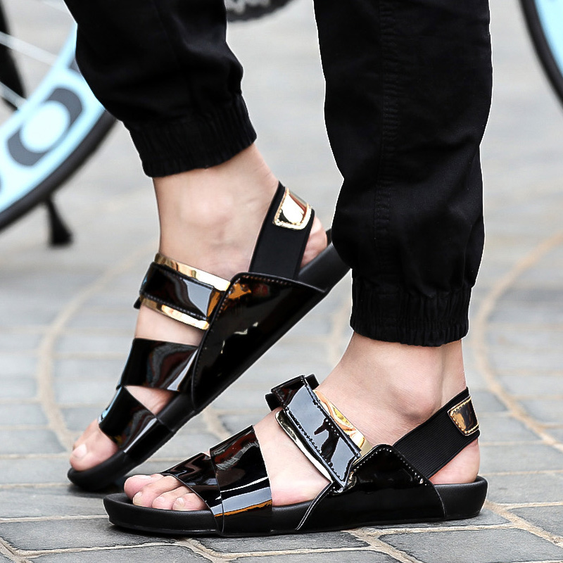Men Leather New Flat Slippers Male 2018 Gladiator Summer Toe Shoes Open Sandals Casual Beach Gold Fashion 08nkXwOP