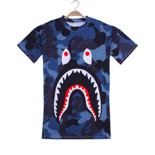 2b45f2b5eb camouflage shark funny print plus size round neck short sleeve women dress  summer loose street wear