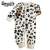 Baby boy winter clothes Leopard baby knit romper 1st birthday Fleece Thicken Warm Infant onesie baby girl jumpsuit overalls