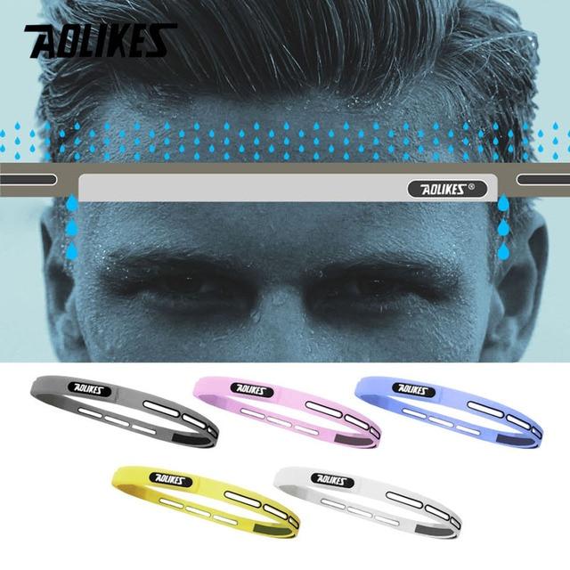 AOLIKES 1PCS Outdoor Sports Silicone Sweat Guiding Belt,Running,Ridding GYM Sweat Conductivity Headbands,Yoga Hair Sweatband 5