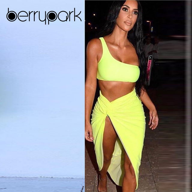 BerryPark Kim Kardashian Sexy Dress Women One Shoulder Draped Asymmetrical Dresses 2019 Summer Fashion High Street Matching Sets 1