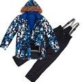 Зима Детская Одежда Устанавливает Ветрозащитный Открытый Подростков Цветочные Куртка + Биб Брюки 2 шт. Набор Мальчиков Лыжный Костюм 7-16Y