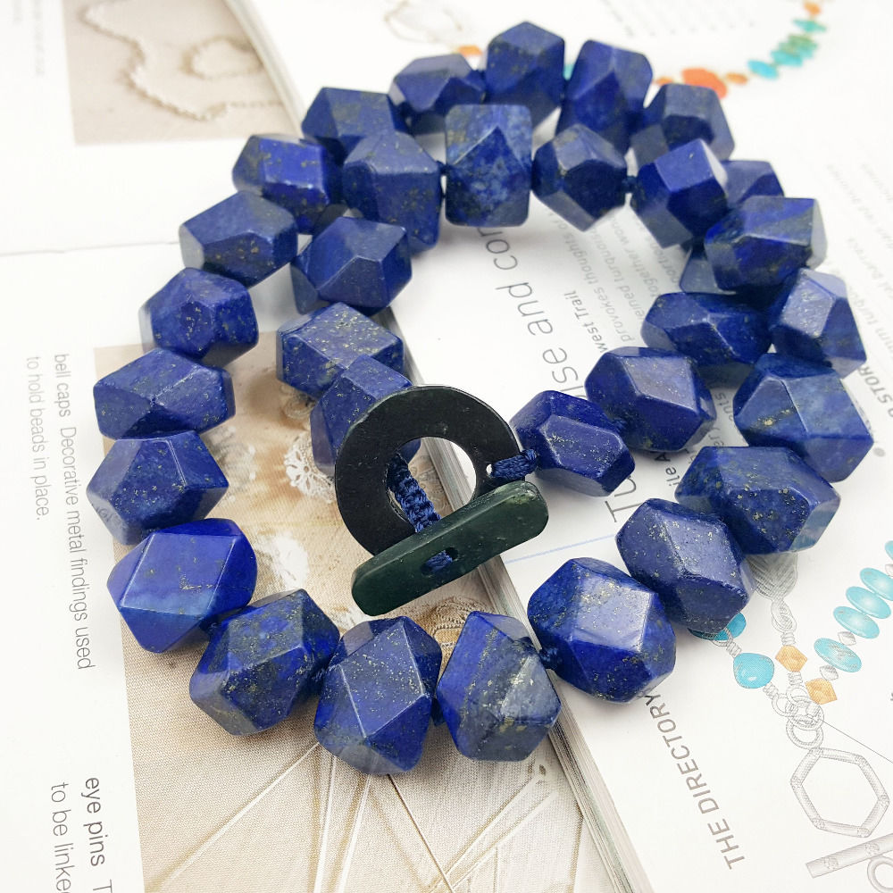 Natuurlijke Lapis Lazuli Facet Hand Cut Kralen 12x16mm Toggle Sluiting Ketting-in Hangers van Sieraden & accessoires op  Groep 1