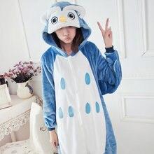 2017 de Invierno de Franela animales Owl Pijama Pijama Pijamas Pijamas Unisex Onesie Adultos Animal Cosplay Pijamas Para Las Mujeres