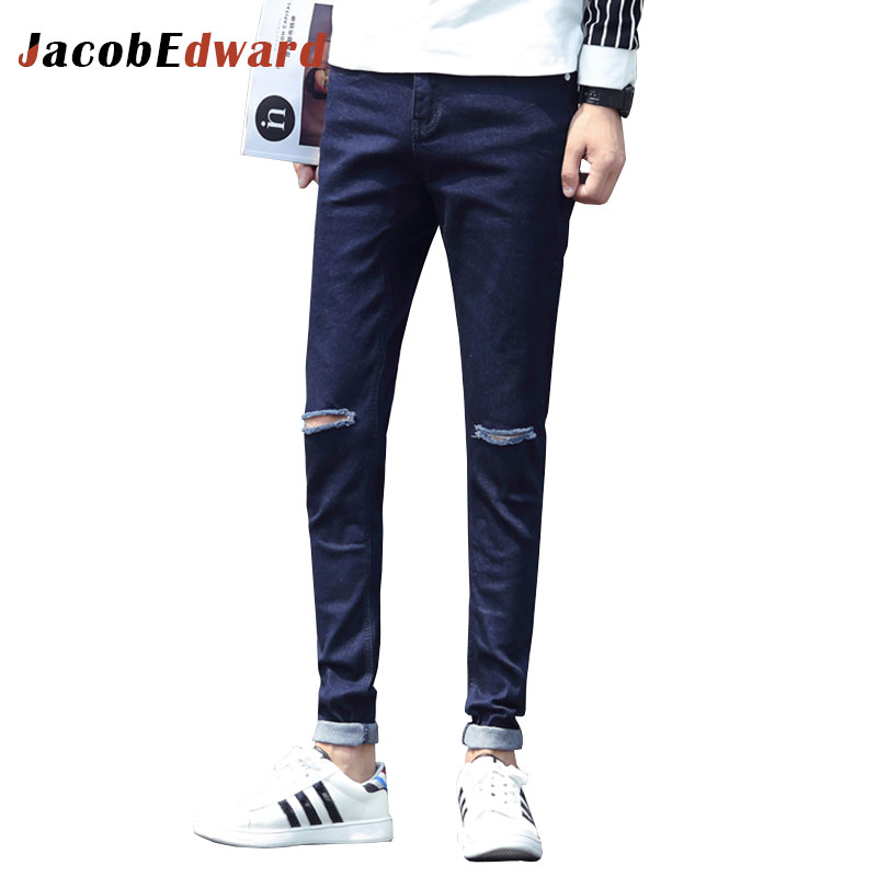 2017 Fashion Casual Male Denim Trousers Winter Warm Men Pant Full Length Straight Men's Jeans Black Slim Fit Ripped