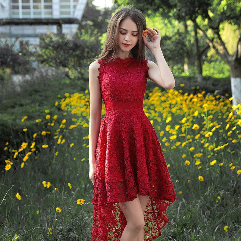 Holievery Lace High Low   Cocktail     Dresses   2020 New Burgundy Party   Dress   Tea Length Women Gowns Elegant