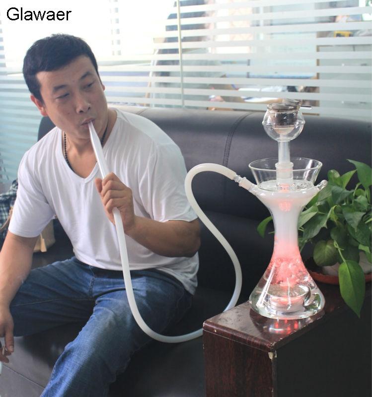 2016 narguilé en verre chicha de marque Glawaer plus stable avec bol, tuyau en verre avec tube de silicone blanc