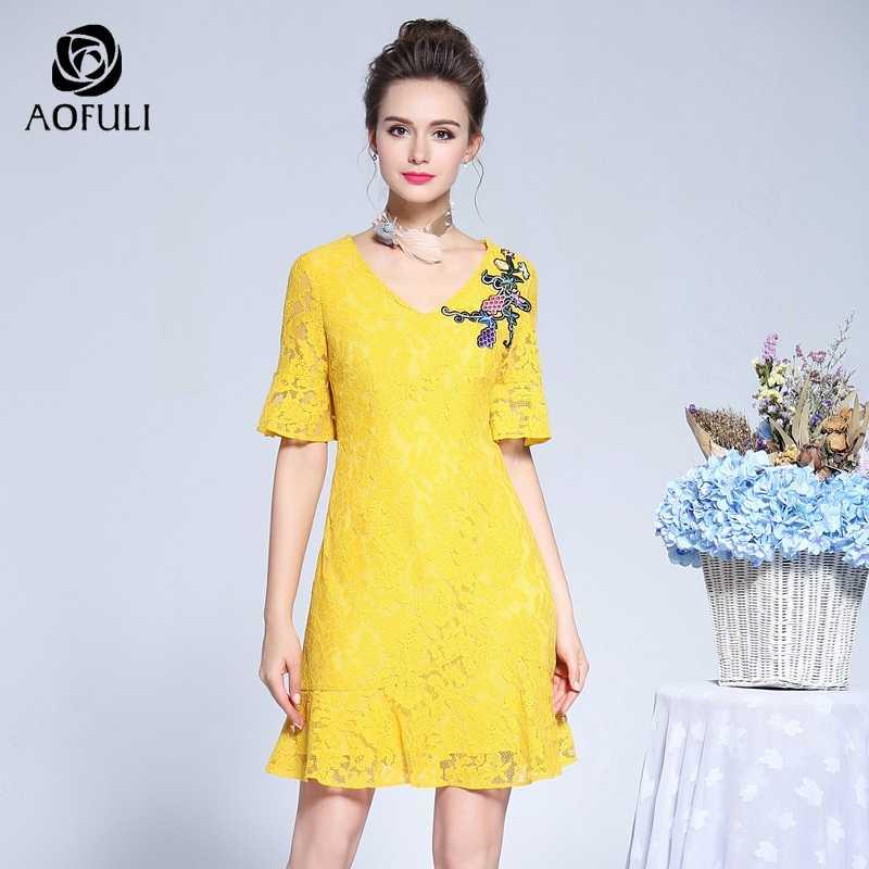 AOFULI L- XXXL 4XL 5XL Women Lace Dress Plus Size Embroidery Flare Sleeves  Short Sundress e88552828d22