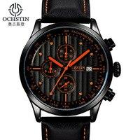 Reloj suizo de aleación deportiva informal para hombre  resistente al agua  de gama alta  6 pines  multifunción  segundos de funcionamiento  reloj de cuarzo con calendario de cuero Relojes deportivos     -