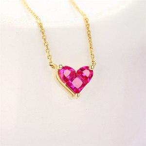 Image 3 - 14K Gouden Hartvormige Ketting Eenvoudige Kleine Verse Zoete Veelzijdige 3 Mm Moissanite Diamond Met Chian Ketting Voor vrouwen