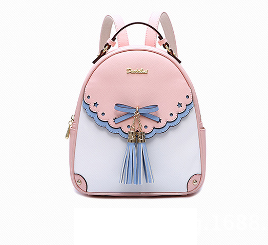 DuoLaiMi 2017 New Arrival  Backpacks Fashion PU Leather Shoulder Bag Bow Patchwork Tassel Backpack Lace Girl School Bags Rivet new arrival set of four rivet with embossing backpack female rivet woolly bear pendant with fashion backpacks b 40