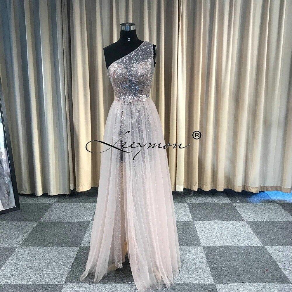 Leeymon paillettes Sexy une ligne robe de soirée 2018 détachable Train Tulle haute fente élégant une épaule Vestido de Novia
