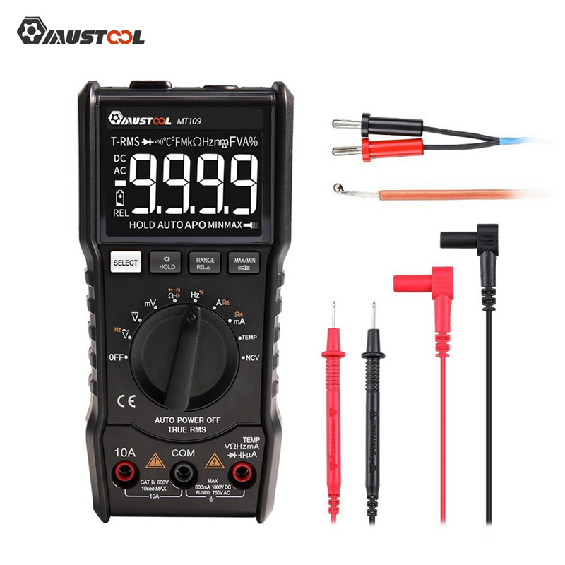 MUSTOOL MT109 Portable 9999 Counts True RMS Multimeter AC DC Voltage Current NCV Temperature Tester Auto Range BacklightMUSTOOL MT109 Portable 9999 Counts True RMS Multimeter AC DC Voltage Current NCV Temperature Tester Auto Range Backlight