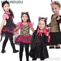 Kids Leopard Tiger Cute Girls Lace Dress Funny Catwoman Cosplay Lovely Cat Children Ballet Dresses Halloween