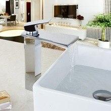 Польский Керамика Клапан поток носик водопад Ванная комната кран Хром Латунь Нажмите Кухня раковина, краны Ванная комната умывальник, краны