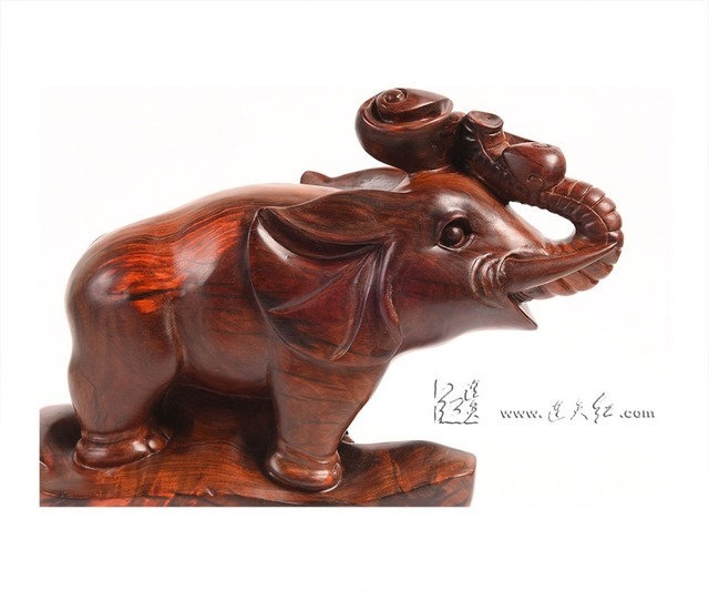 Chinese Classical Rosewood Carving Art Crafts Elephant Symbol Of